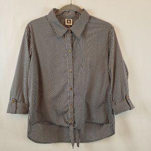 Ann Klein Blk & wht Gingham shirt Size L